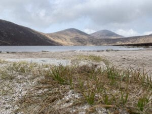 Lough Shannagh with the beautiful mountains in the background